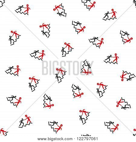Alien Training Help vector seamless repeatable pattern. Style is flat red and dark gray alien training help symbols on a white background.