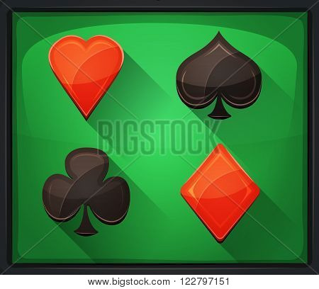 Illustration of casino and poker icons with spades diamonds hearts and clubs gambling cards symbols on green carpet background