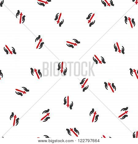 Classic Guard vector seamless repeatable pattern. Style is flat red and dark gray Classic guard symbols on a white background.