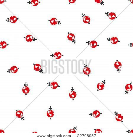 Earth Guard vector seamless repeatable pattern. Style is flat red and dark gray Earth guard symbols on a white background.