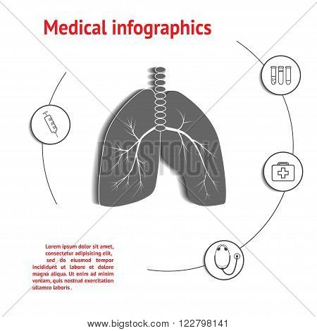 Lungs Medical Infographic Template with space for text