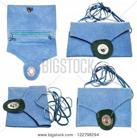set from blue clutch bag from stingray leather isolated on white background