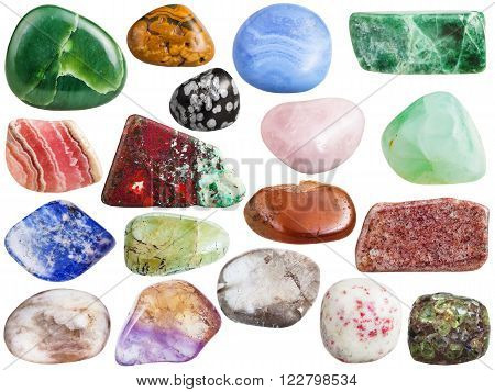 set of mineral gemstones isolated on white:  ametrine peridot chrysolite moonstone guarz chalcedony spessartine rhodochrosite jadeite obsidian jasper nephrite jade cinnabar cuprite sodalite aventurine beryl prehnite