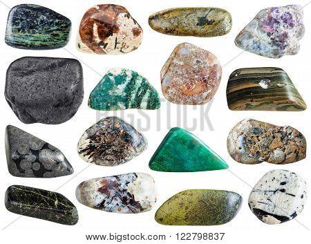 stones - spreushtein, eudialyte, chlorite, lepidolite, arsenopyrite, epidote, aegirine, microcline, sphalerite, fuchsite, marl shale, sanidine, variolite, diopside, porphyry, rhyolite, shungite