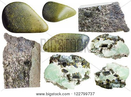Set Of Green Epidote Crystals And Polished Stones
