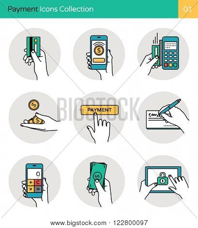 Payment Icons Collection 1. Smart banking, payment methods, money & mobile payment icons.