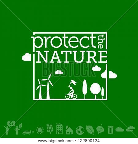 Protect the nature. Go green, sustainable development & Ecology background illustration. (Create your unique designs with icons on the bottom.)