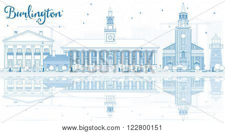 Outline Burlington (Vermont) City Skyline with Blue Buildings and Reflections. Vector Illustration. Business and tourism concept. Image for presentation, banner, placard or web site