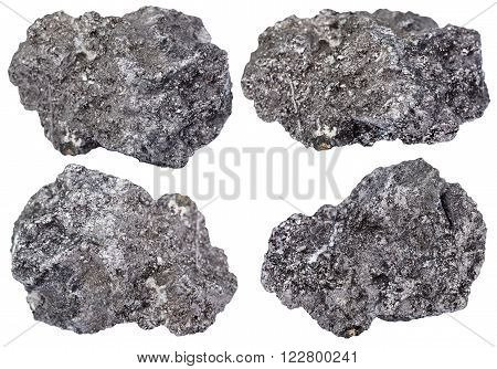 Set Of Piece Of Graphite Mineral Stone Isolated
