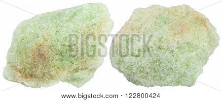 Two Pieces Of Lavrovite Mineral Stones Isolated