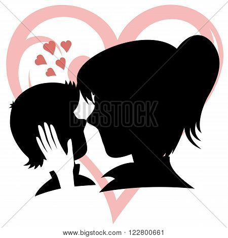 Lovin' mommy collection - Silhouette of a caring mother caresses her son's head (with heart background)