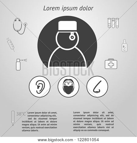 Medicine infographic template. ENT diseases and treatment