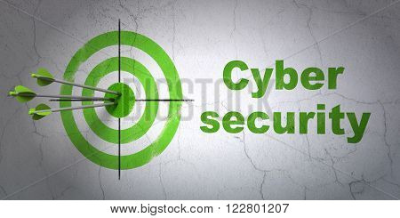 Protection concept: target and Cyber Security on wall background