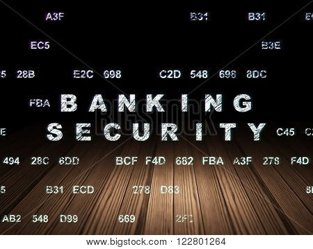 Protection concept: Banking Security in grunge dark room