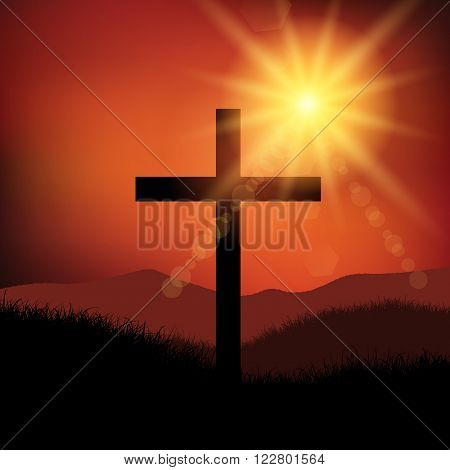 Good Friday Easter landscape with cross