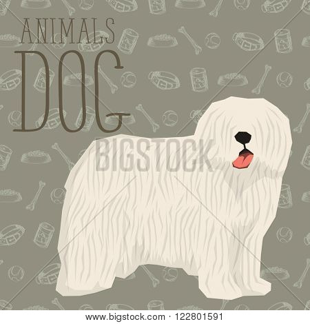 Vector geometric dogs collection with seamless background. Komondor