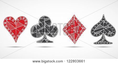 Hand drawn sketched Playing cards poker blackjack symbol background doodle hearts diamonds spades and clubs symbols.