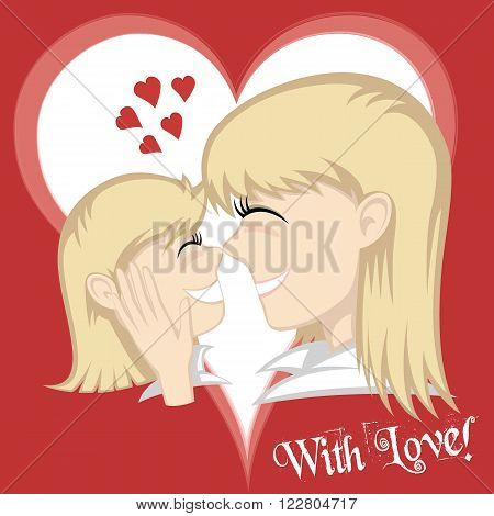 Lovin' mommy collection - A cute blonde girl and blonde mother's faces (mother caresses with background and text).