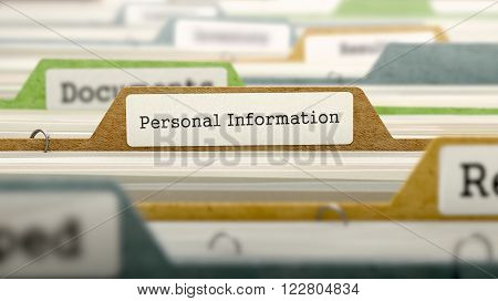 Personal Information Concept on File Label in Multicolor Card Index. Closeup View. Selective Focus. 3D Render.
