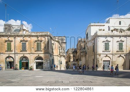 Lecce Italy - August 6 2014: Detail of the buildings in baroque style in Cathedral Square Lecce.