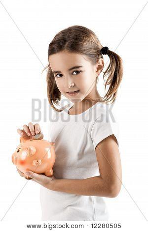 Little Girl With A Piggy-bank