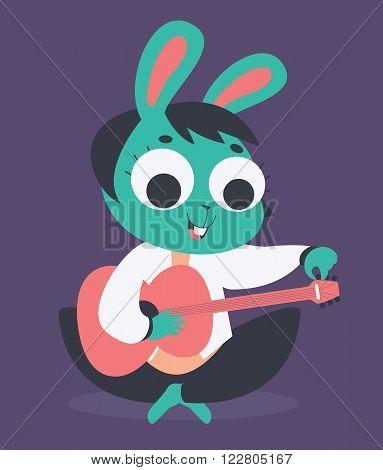 Cute Bunny Girl Tuning Acoustic Guitar