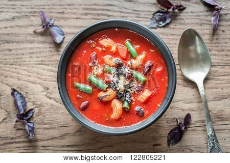 Bowl Of Minestrone Soup: Top View
