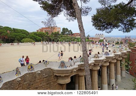 BARCELONA, SPAIN - JULY 31, 2015: Cityscape view of the famous architectural landmark Park Guell in Barcelona, designed by renowned architect Antoni Gaudi and built between 1900 and 1914.