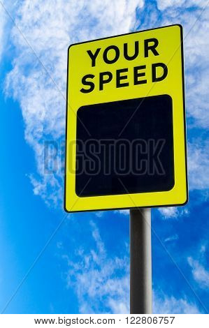 A traffic sign indicating driver's speed with copy space against blue sky. Conceptual idea of pace or speed in life.