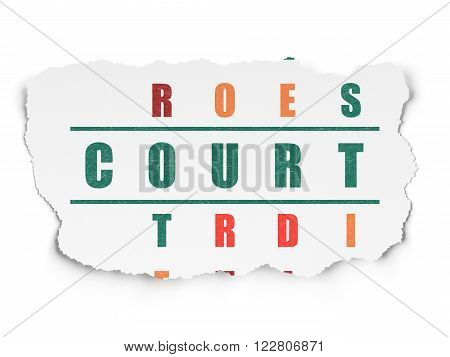 Law concept: Court in Crossword Puzzle