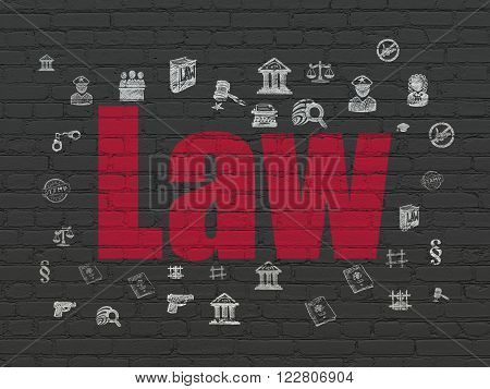 Law concept: Law on wall background