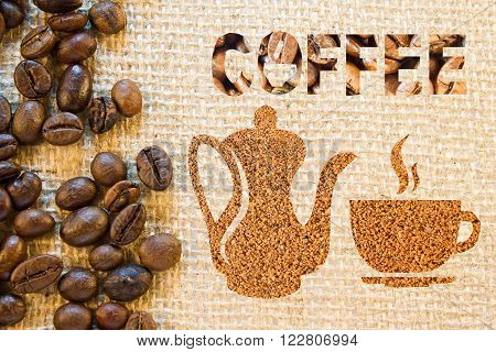 Coffee Pot And A Cup Made Of Ground Coffee