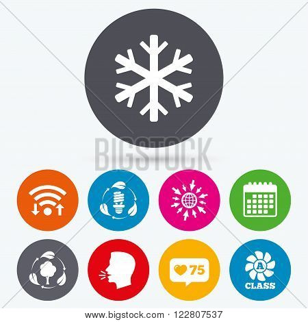 Wifi, like counter and calendar icons. Fresh air icon. Forest tree with leaves sign. Fluorescent energy lamp bulb symbol. A-class ventilation. Air conditioning symbol. Human talk, go to web.