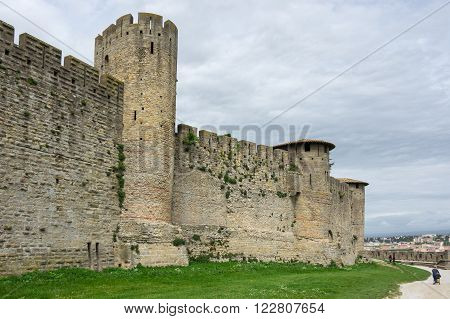 CARCASSONNE FRANCE - MAY 05 2015: Medieval castle of Carcassonne, Languedoc - Roussillon, France