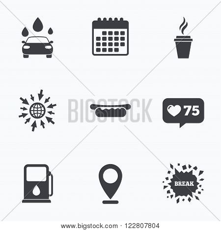 Calendar, like counter and go to web icons. Petrol or Gas station services icons. Automated car wash signs. Hotdog sandwich and hot coffee cup symbols. Location pointer.
