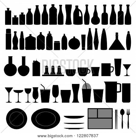 Bottle, plate, glass and cup collection - vector silhouette