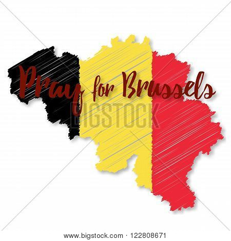Belgian flag overlaid on detailed outline map with shadow isolated on white background. Flat graphic design elements with embroidery effect. Phrase Pray for Brussels lettering.