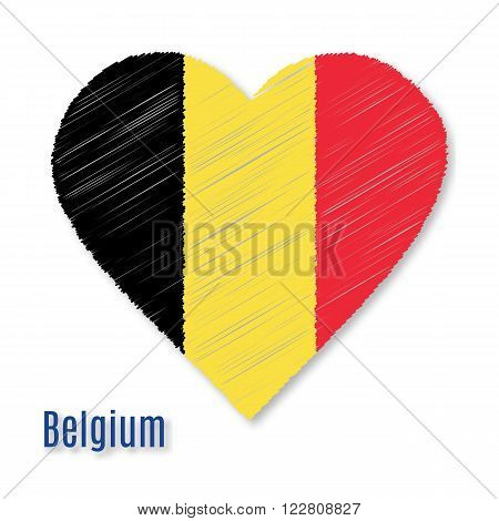 Belgian flag overlaid on heart shape with shadow isolated on white background. Vector illustration with flat graphic design element with embroidery effect. Banner or poster.