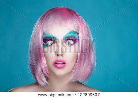Shocked Sexy Girl With Bulging Wide-open Eyes And Open Mouth Pink Lips And Hairs. Trendy Advertiseme