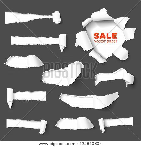 Set of holes in dark gray paper with torn sides over white paper background with space for text. Realistic vector torn paper with ripped edges. Design elements for advertising and sale promotion.
