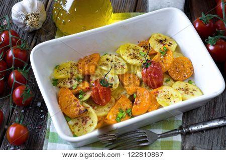Roasted Potatoes And Sweet Potatoes