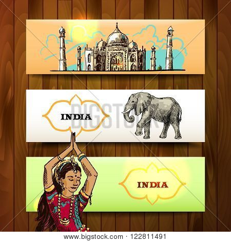 Set of vector hand drawn beautiful banners India for your design