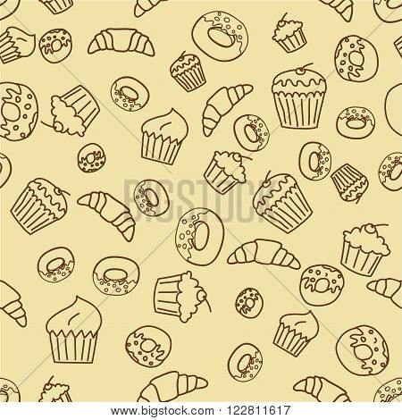 Vector bakery seamless pattern background in outlines.