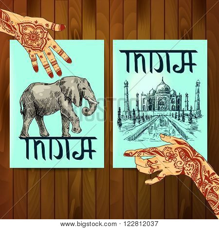 Set of vector hand drawn beautiful illustrations India for your design