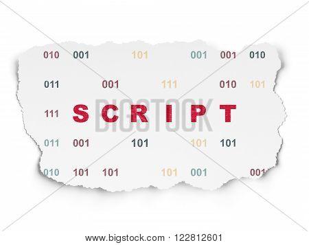 Database concept: Script on Torn Paper background