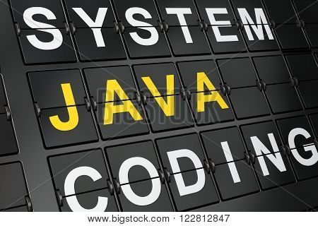 Programming concept: Java on airport board background