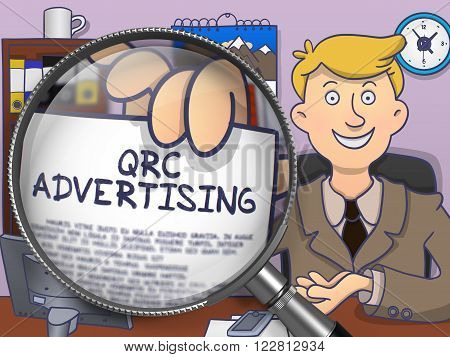 QRC Advertising. Man in Office Showing a through Magnifier Paper with Concept. Colored Modern Line Illustration in Doodle Style.