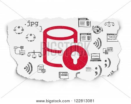 Software concept: Database With Lock on Torn Paper background