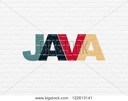 Database concept: Java on wall background