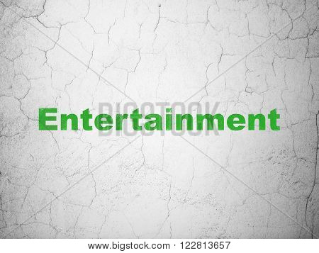 Entertainment, concept: Entertainment on wall background